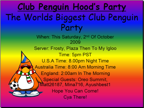 Club Penguin hood Party!