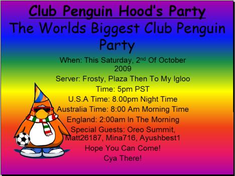 Club Penguin hood Party!